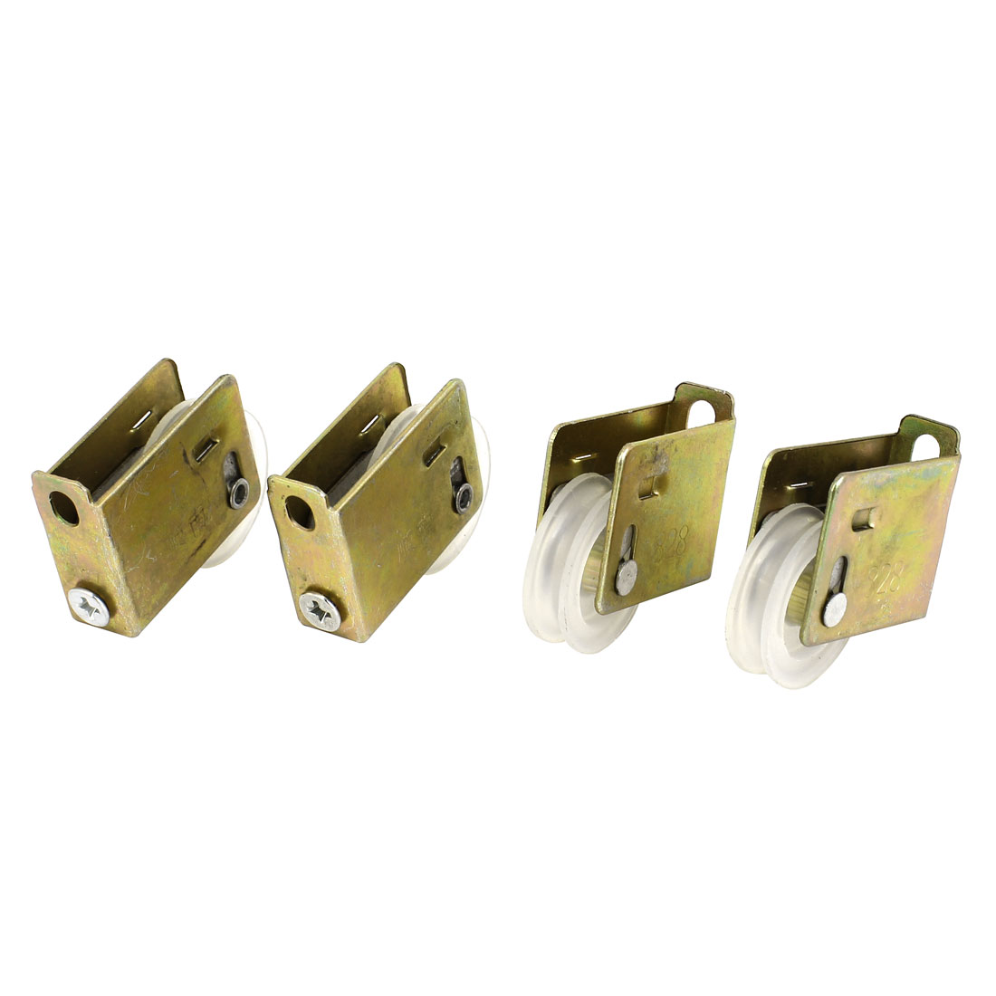 26mm Dia. Wheel 828 Single Roller Door Window Sash Pulley White 4Pcs Brass Tone