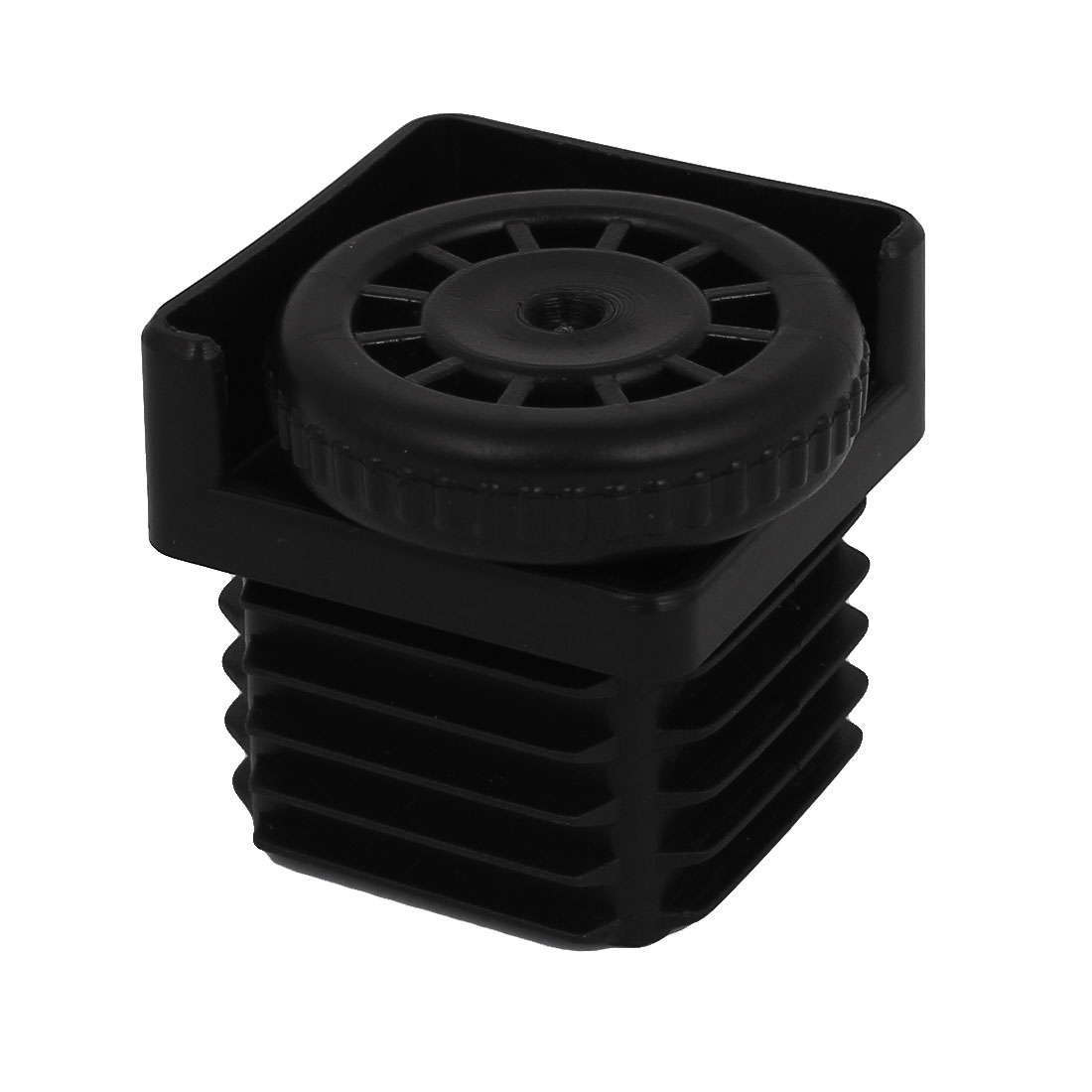 8mm Thread Dia. 40mm Base Adjustable Plastic Square Foot Pad Black for Furniture