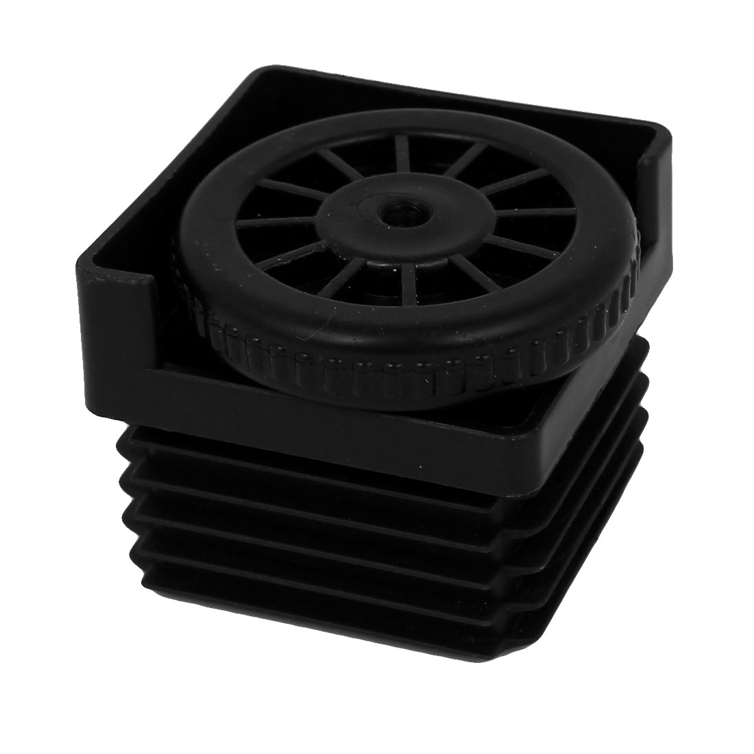 8mm Thread Dia. 50mm Base Adjustable Plastic Square Foot Pad for Furniture Black