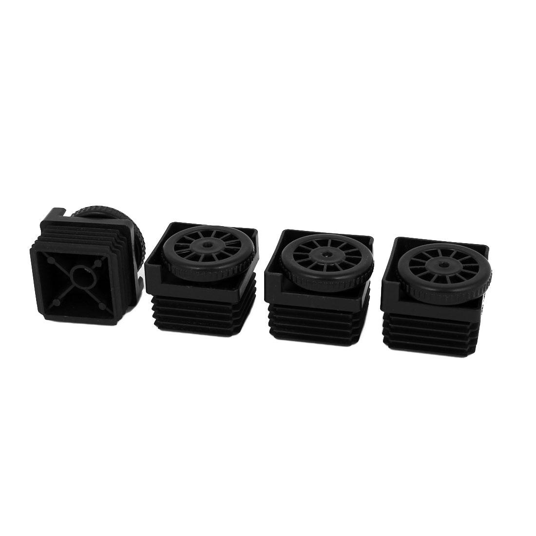 8mm Thread Dia. Adjustable Plastic Square Foot Pad for Furniture Black 4Pcs