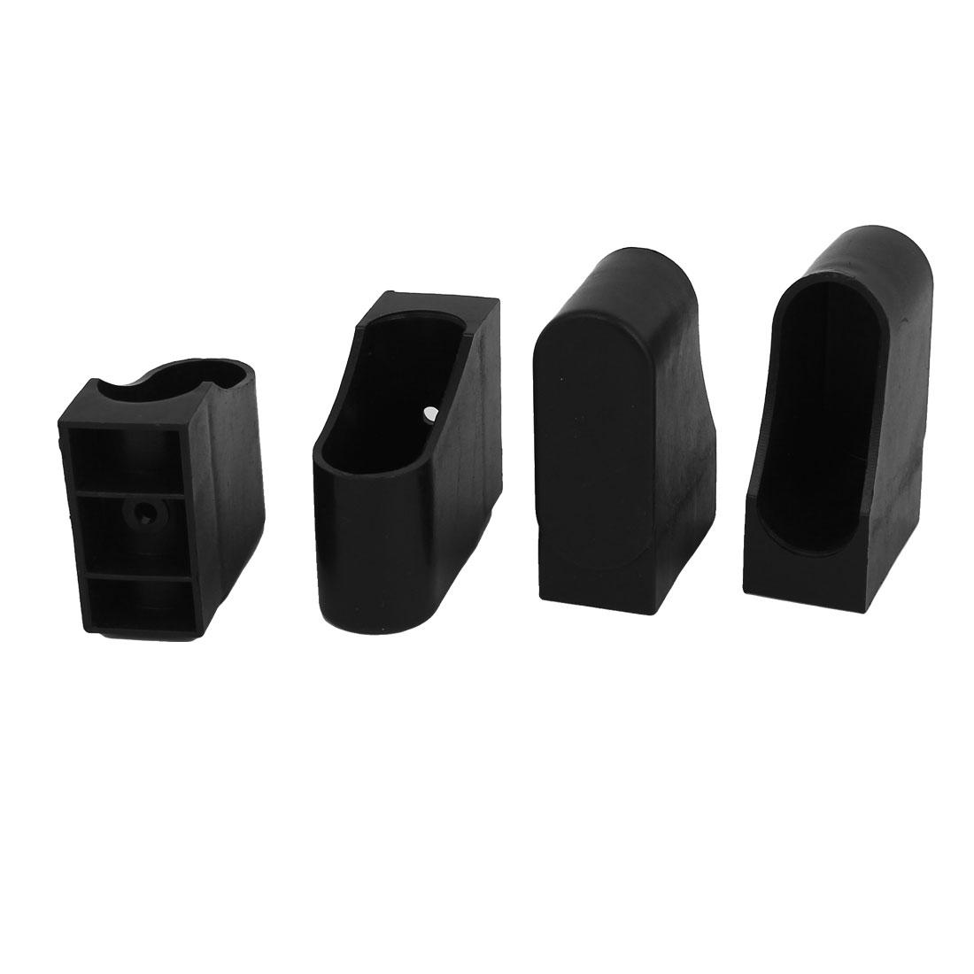 4Pcs Oval Shaped Plastic Furniture Foot Leg Corner Protector Pad 20mmx50mm Black