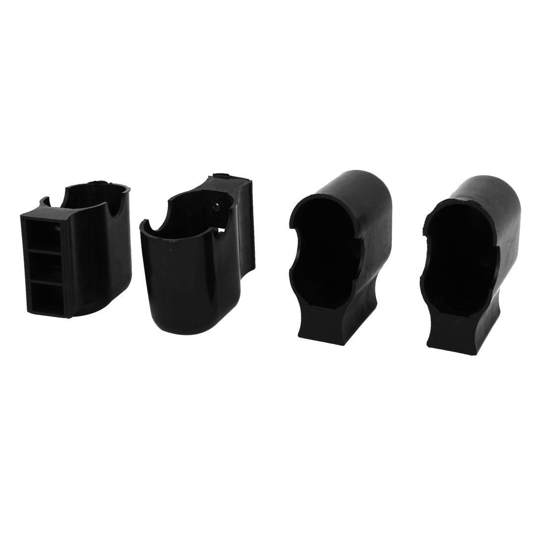 4Pcs Oval Shaped Plastic Furniture Foot Leg Corner Protector Pad 30mmx50mm Black