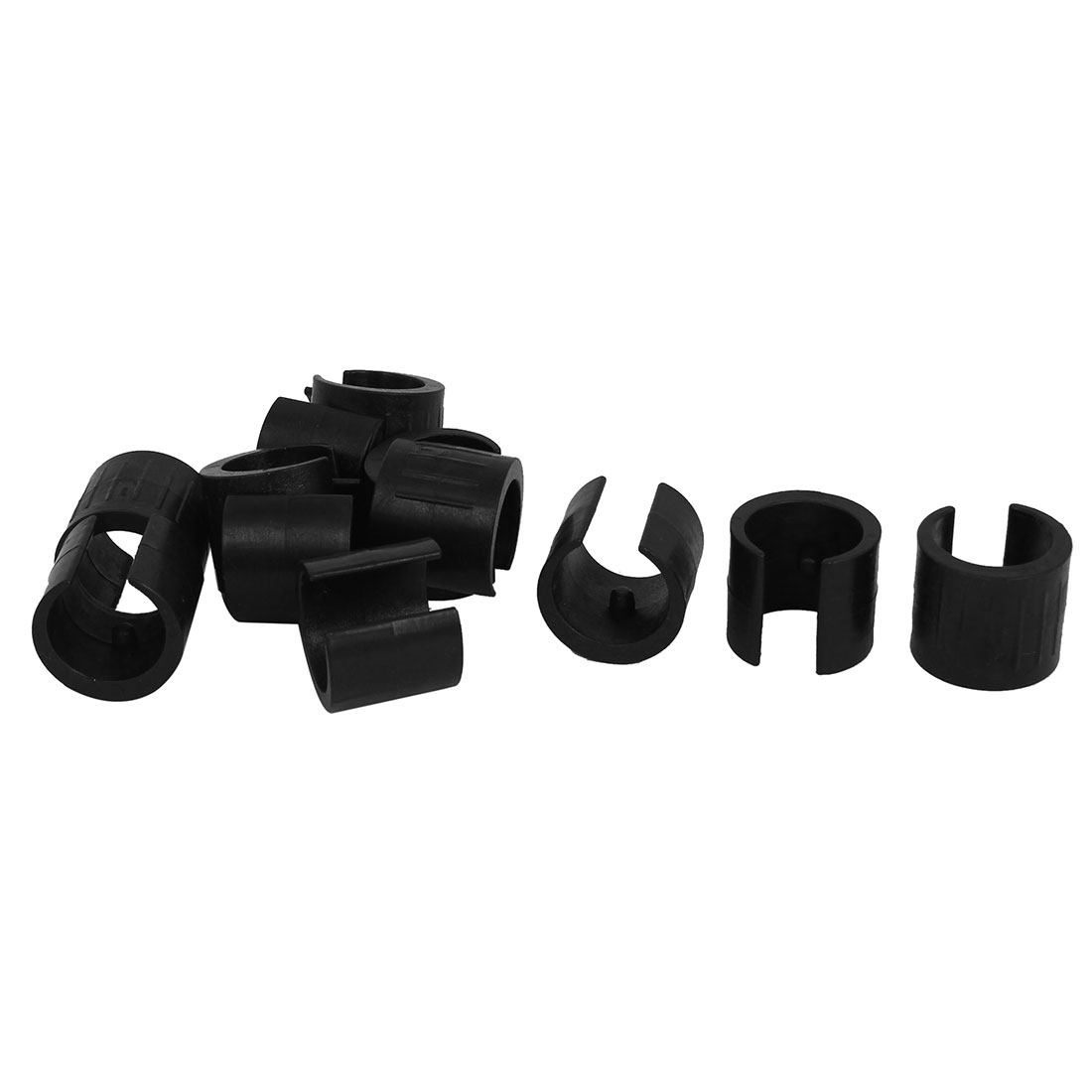 21mm Dia. Nonslip Plastic Round Pipe Clamp Foot Pads for Chair 12Pcs Black