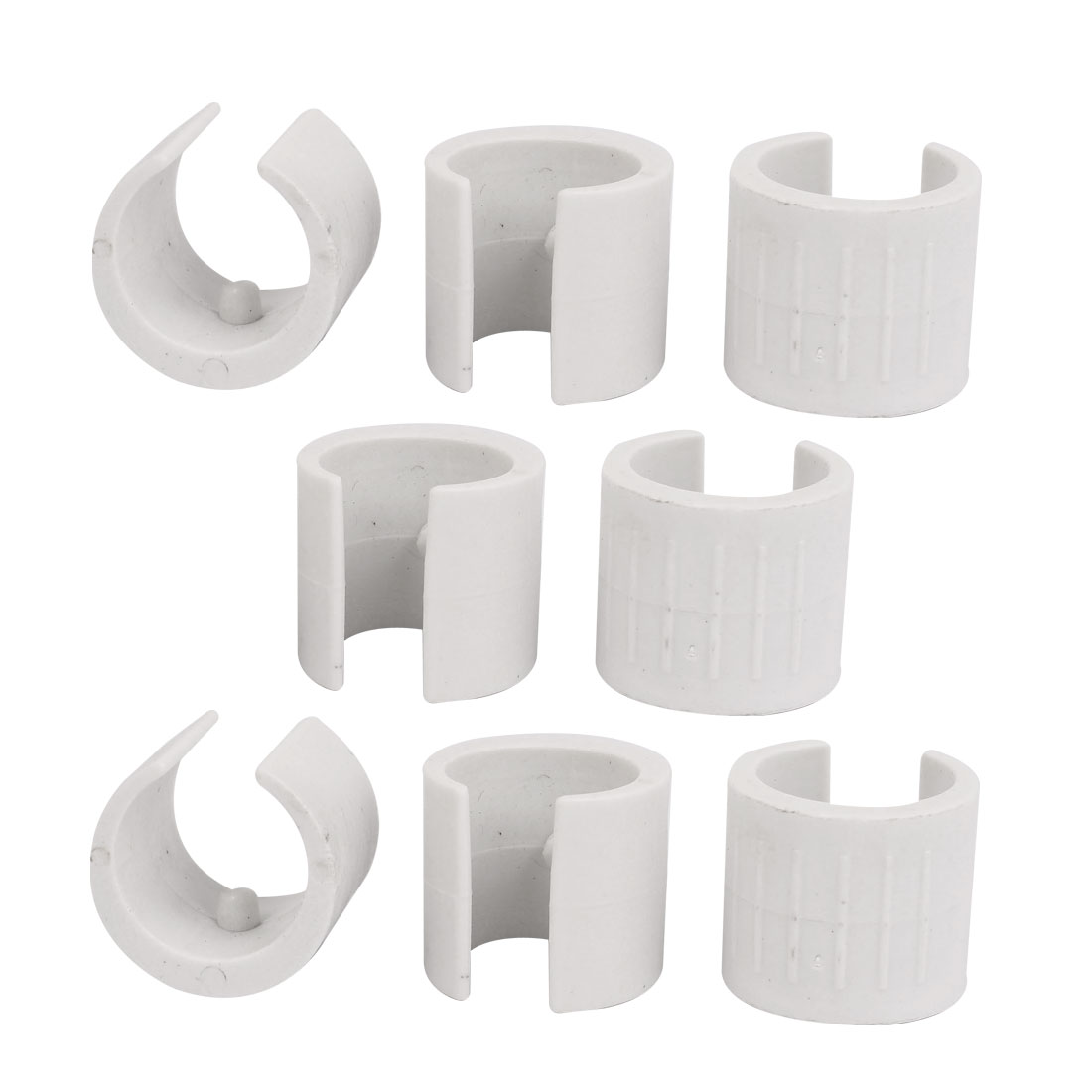 22mm Dia Antislilp Plastic Round Pipe Clamp Foot Pads for Chair 8Pcs White