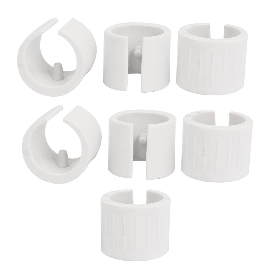 25mm Dia. Nonslip Plastic Round Pipe Clamp Foot Pads for Table 8Pcs White