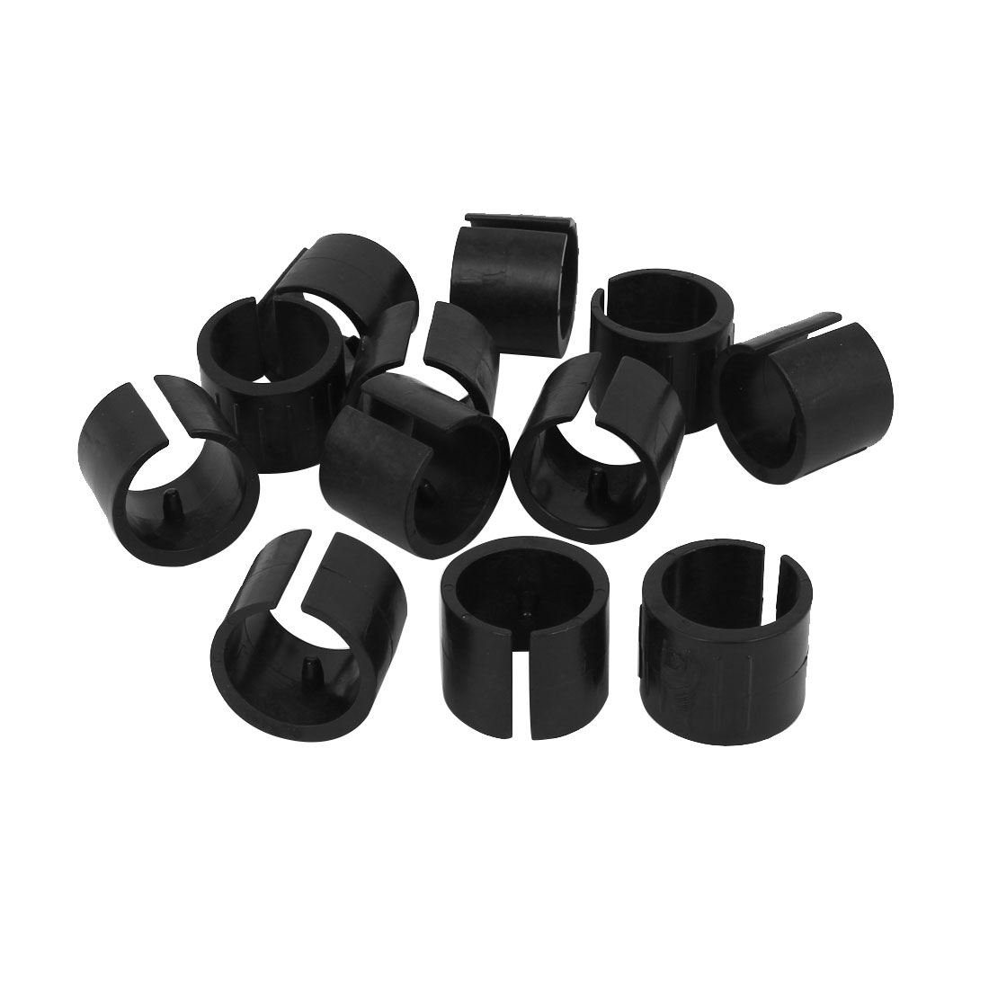 32mm Dia. Nonslip Plastic Round Pipe Clamp Foot Pads for Chair 12Pcs Black