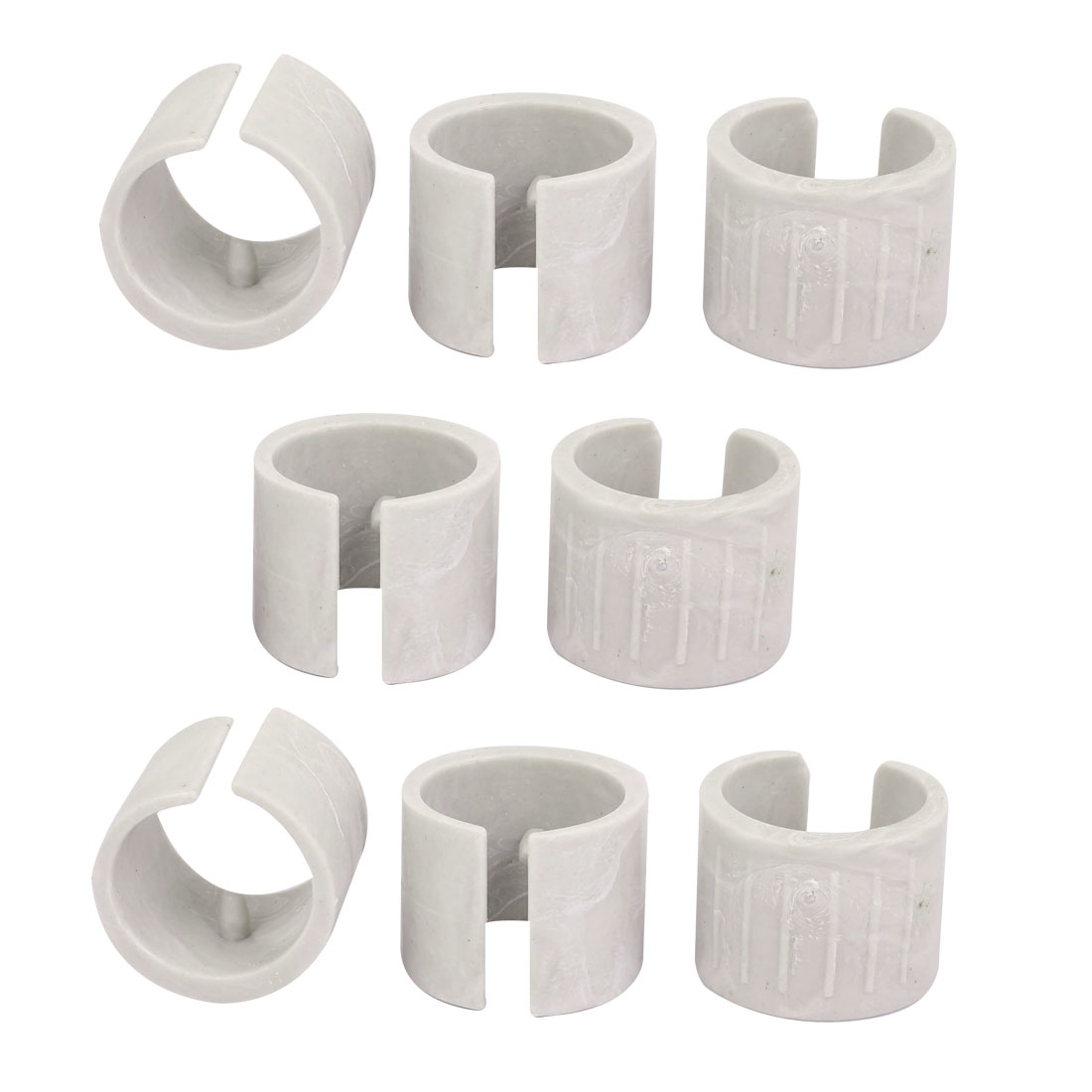 32mm Dia Antislilp Plastic Round Pipe Clamp Foot Pads for Table 8Pcs White