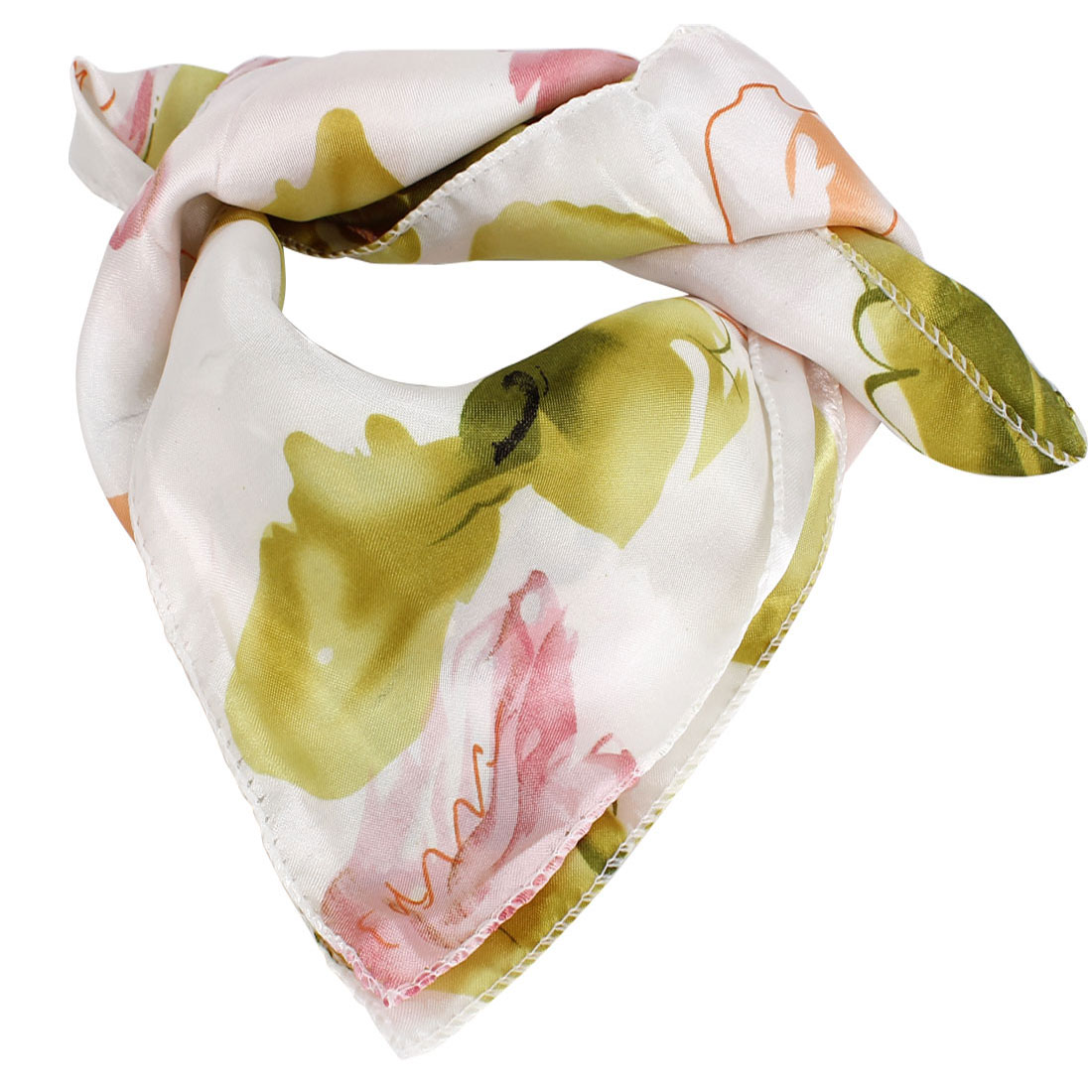Colorful Lily Flower Printed Square Shaped Polyester Neck Scarf for Ladies