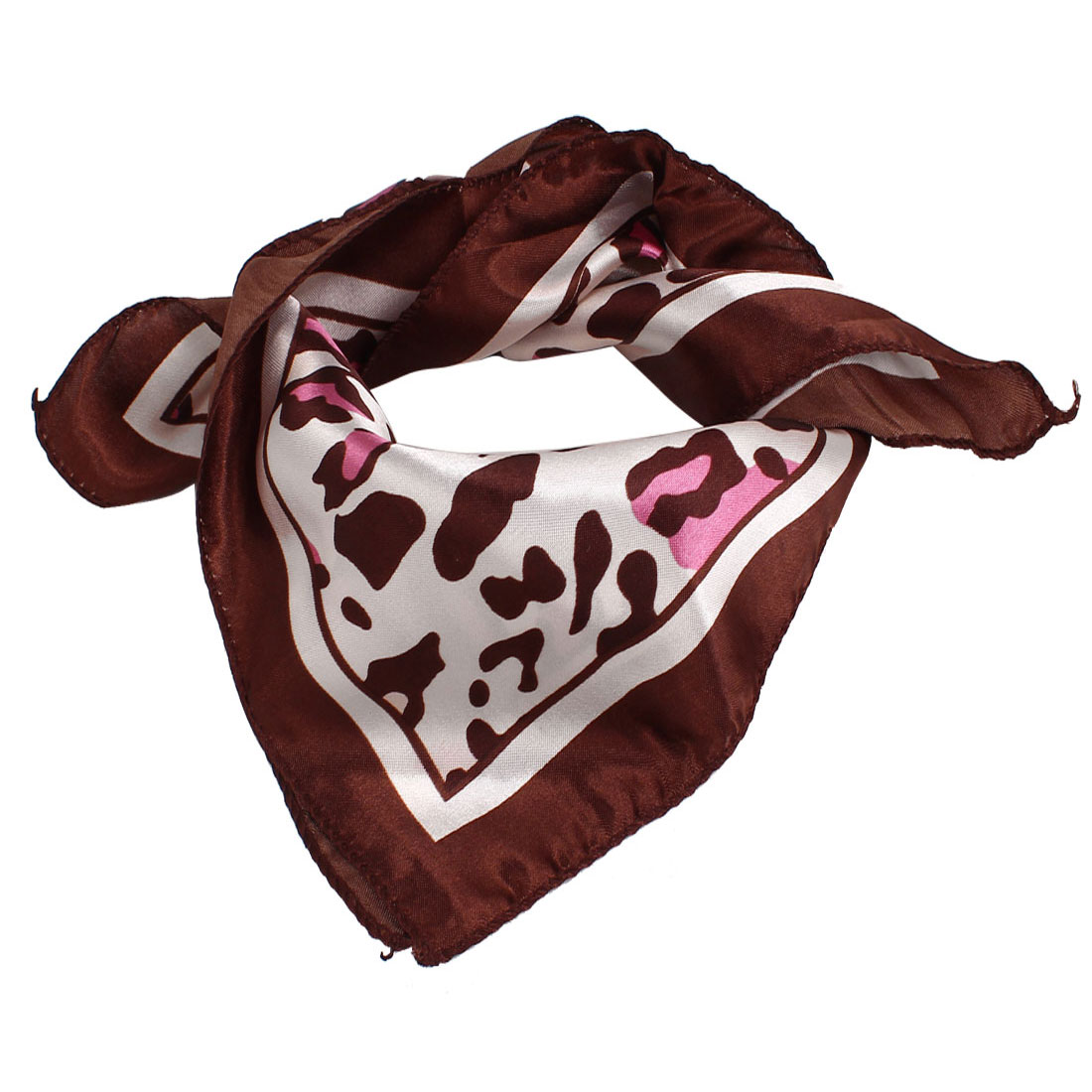 Brown Pink Floral Leopard Print Polyester Square Shaped Neck Scarf for Ladies