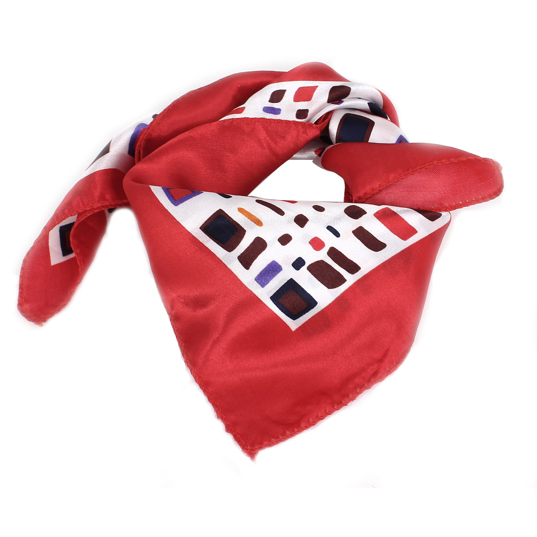 Colorful Rectangle Printed Square Shaped Polyester Neck Scarf for Ladies