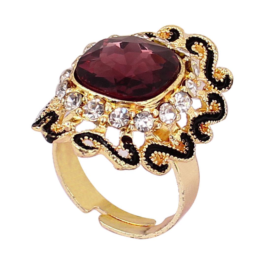 US 8 Gold Tone Dark Purple Square Shape Rhinestone Inlaid Finger Ring for Lady