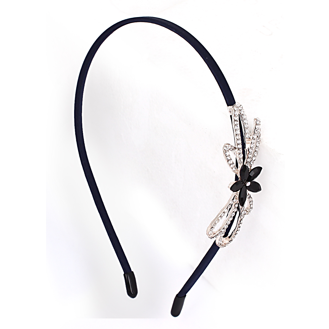 Dark Blue Metal Glittery Rhinestone Inlaid Double Flower Decor Hair Hoop for Lady