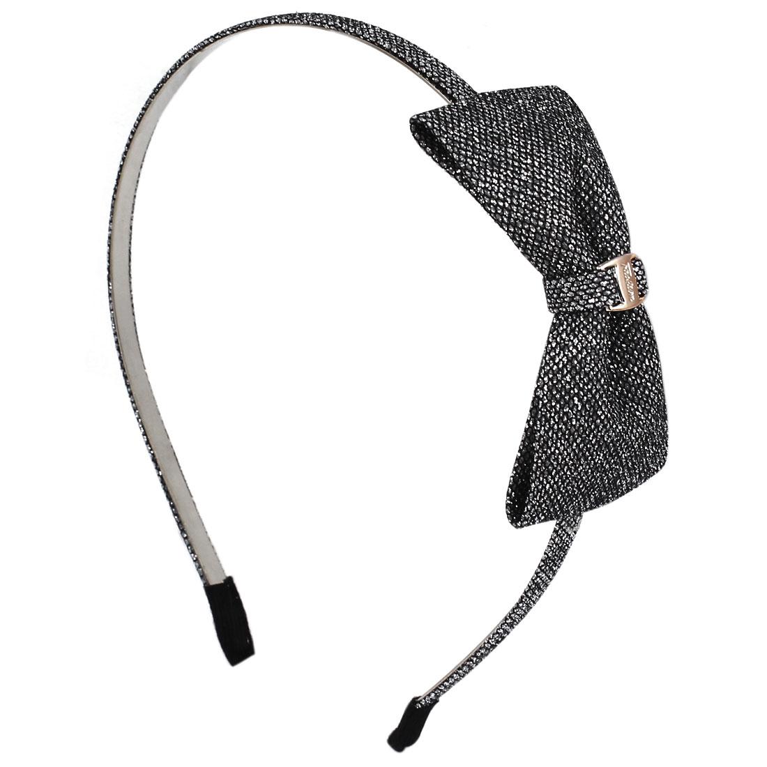 Black Nylon Bowknot Metal Frame Sparkly Sequin Powder Detail Decor Hair Hoop for Girl