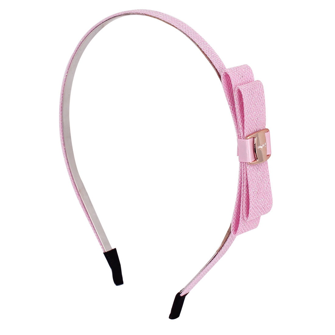 Pink Metal Frame Nylon Double Layer Bowknot Sparkly Sequin Powder Decor Hair Hoop for Girl