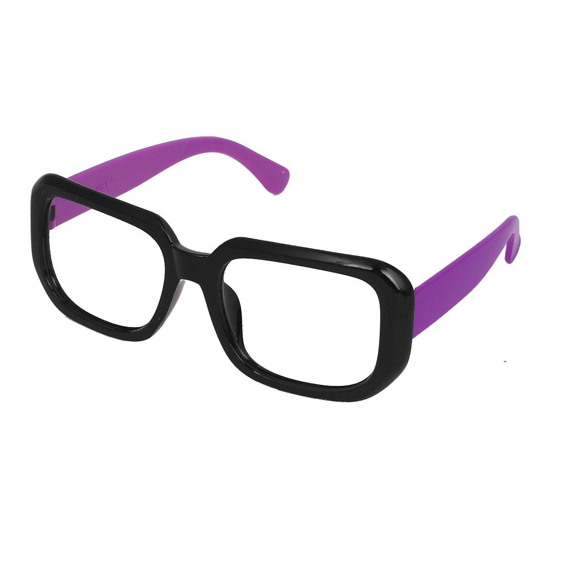 Black Purple Plastic Full Rim Rectangular Lensless Eyeglasses Frame for Ladies
