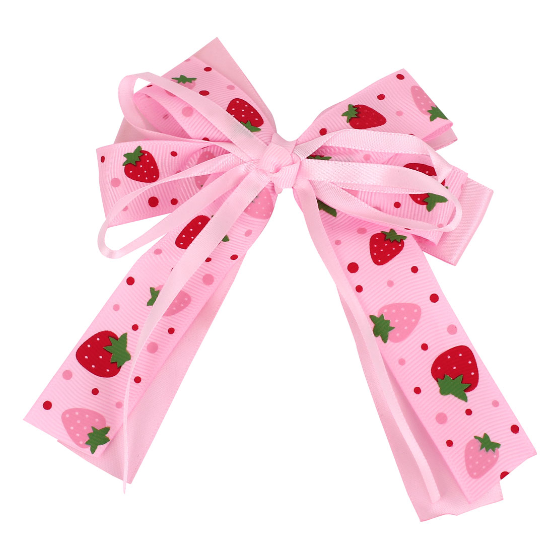 Pink Fabric Double Layers Bowknot Strawberries Printed Decor Hair Clip for Girl Lady