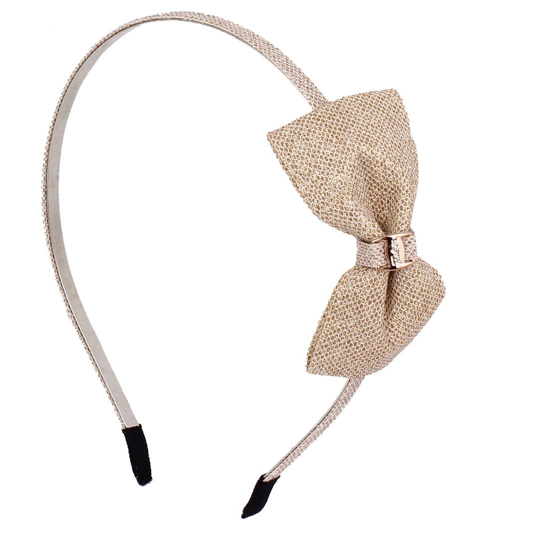Gold Nylon Bowknot Sparkly Sequin Powder Detail Decor Metal Frame Hair Hoop for Girl