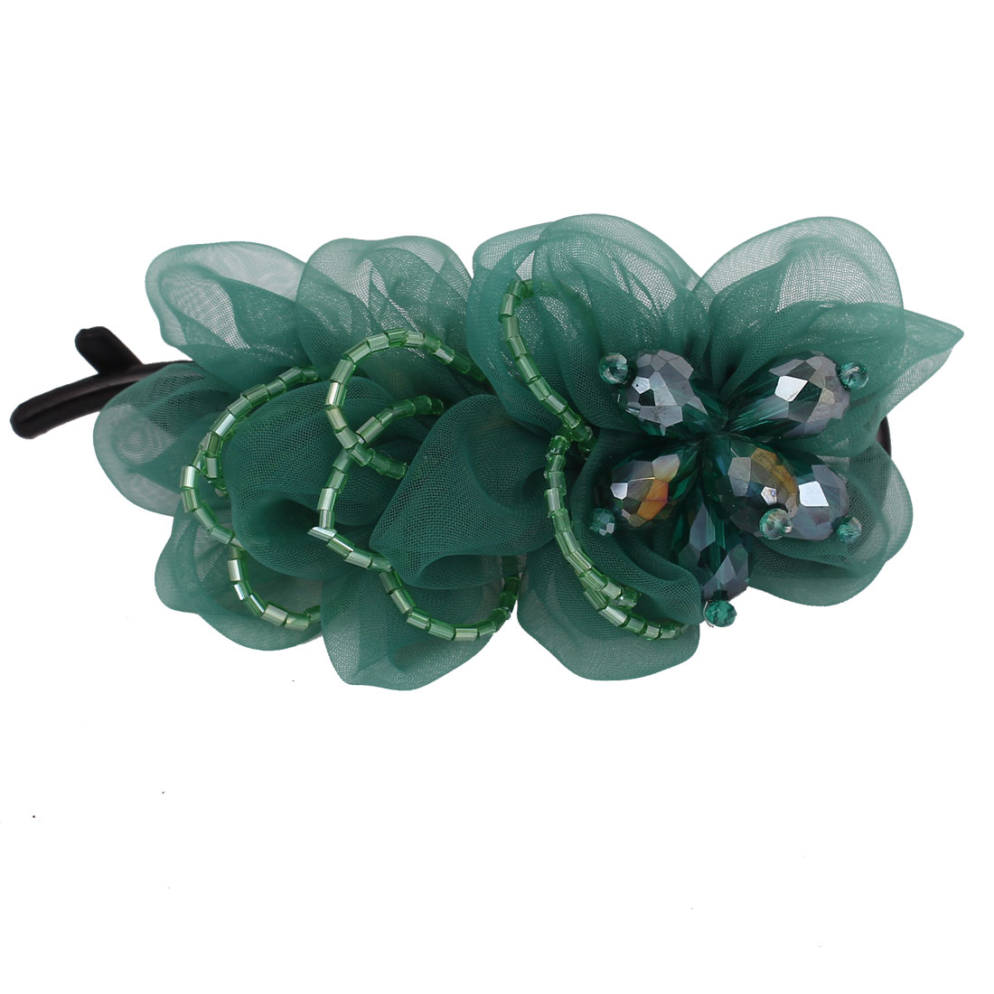 Plastic Teeth Rhinestone Bead Inlaid Flower Ornament Hair Clip Barrette for Lady Green