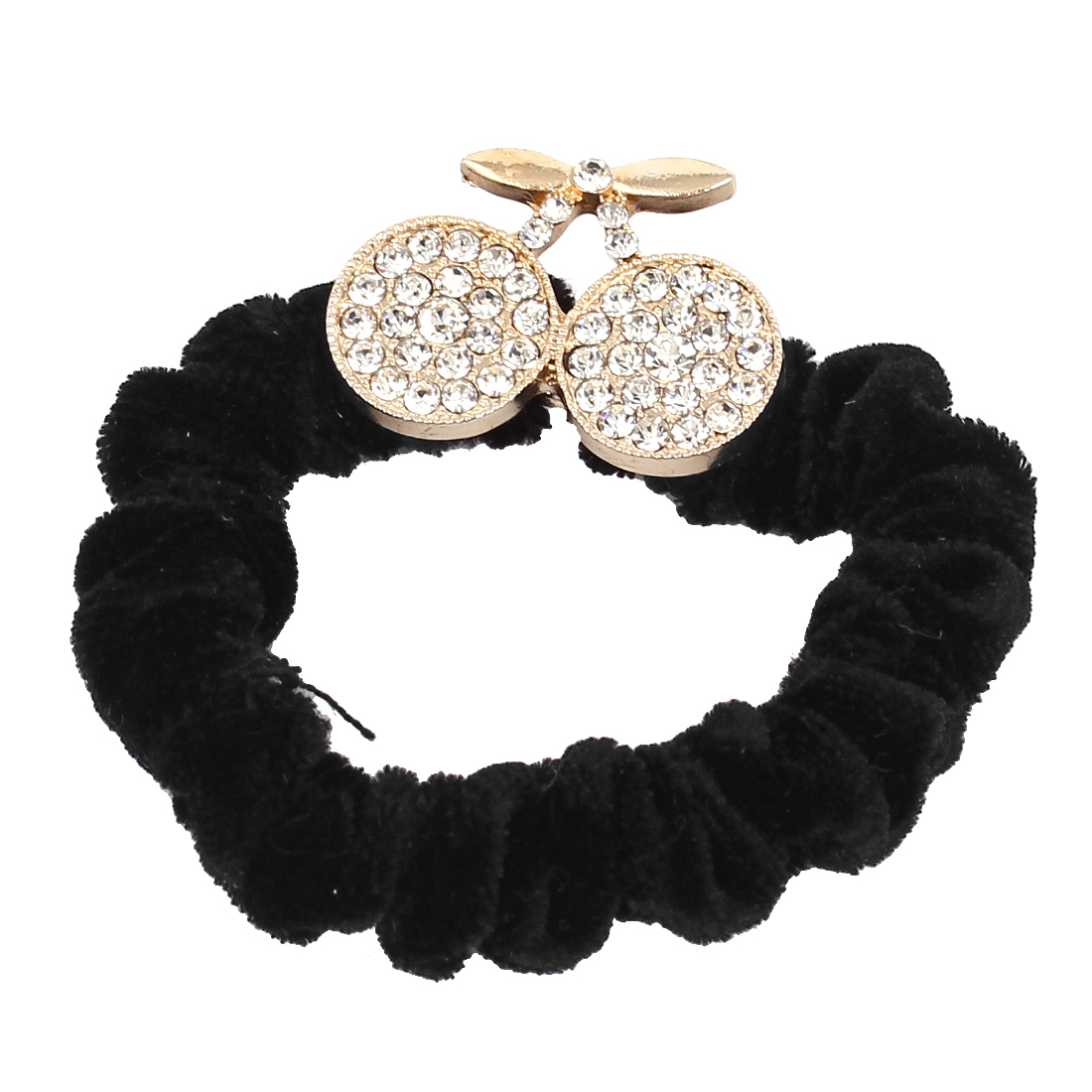 Lady White Sparkly Rhinestone Inlaid Two Cherries Design Detail Elastic Hair Tie Ponytail Holder