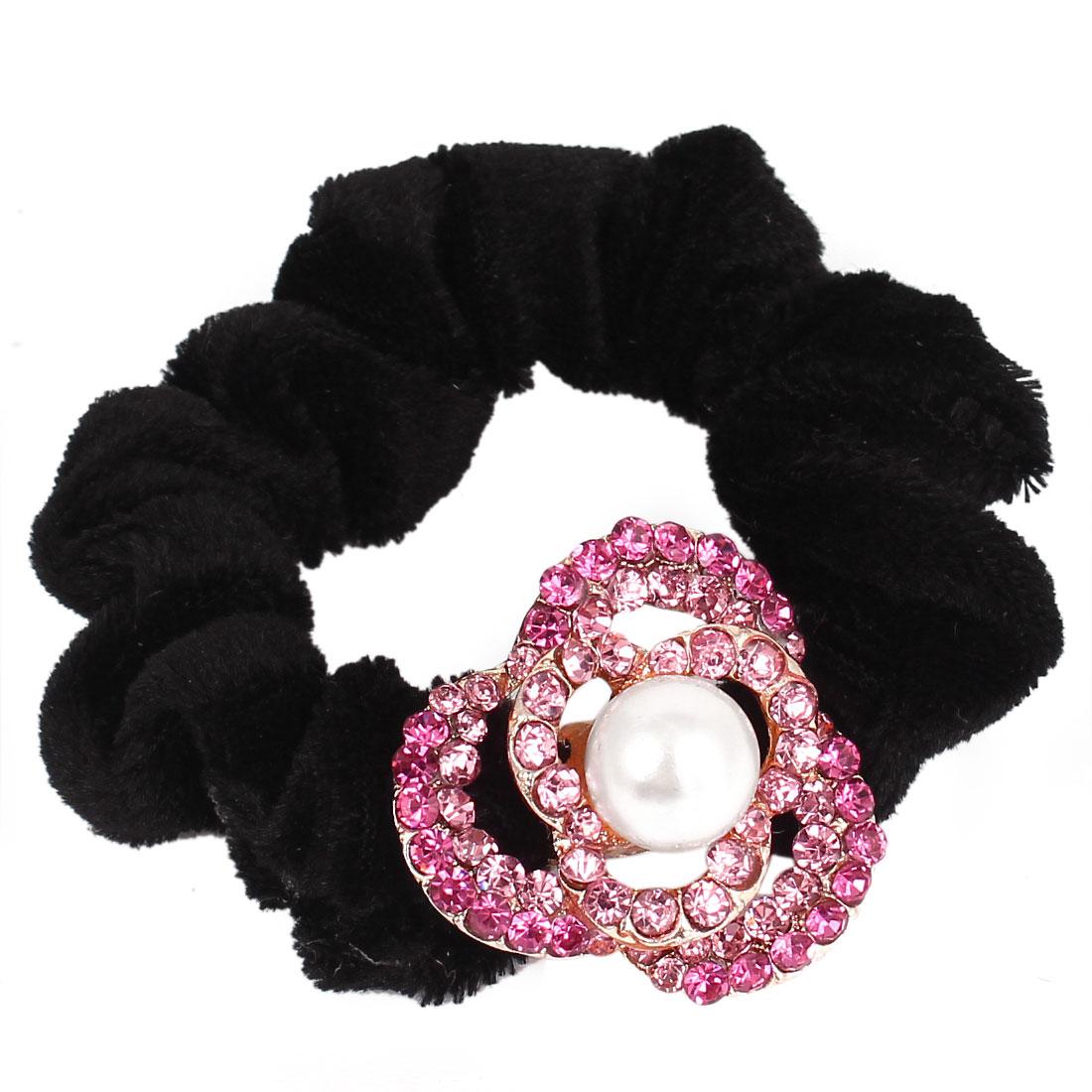 Women White sparkly Rhinestone Inlaid Flower Design Detail Elastic Ponytail Holder