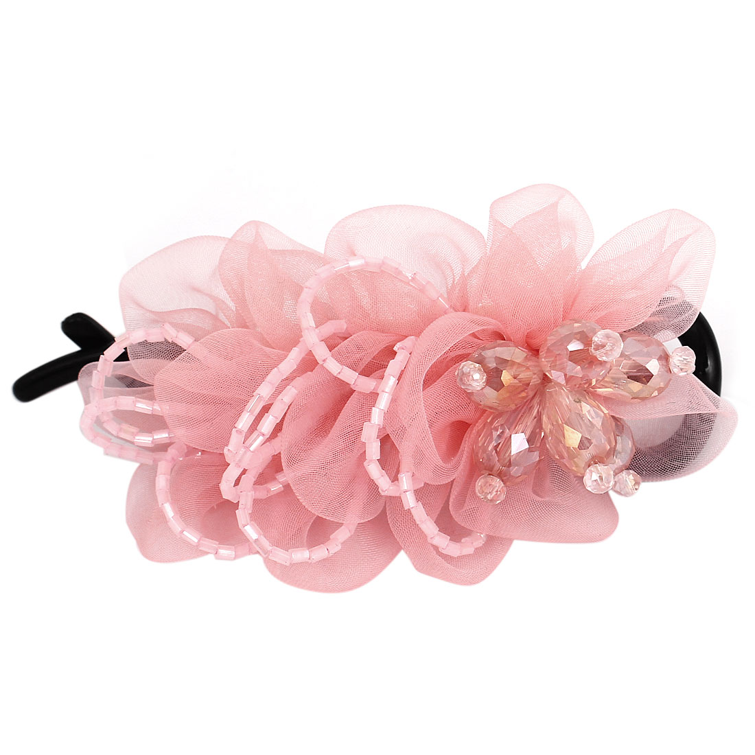 Plastic Teeth Rhinestone Bead Inlaid Flower Decor Hair Clip Barrette for Lady Pink