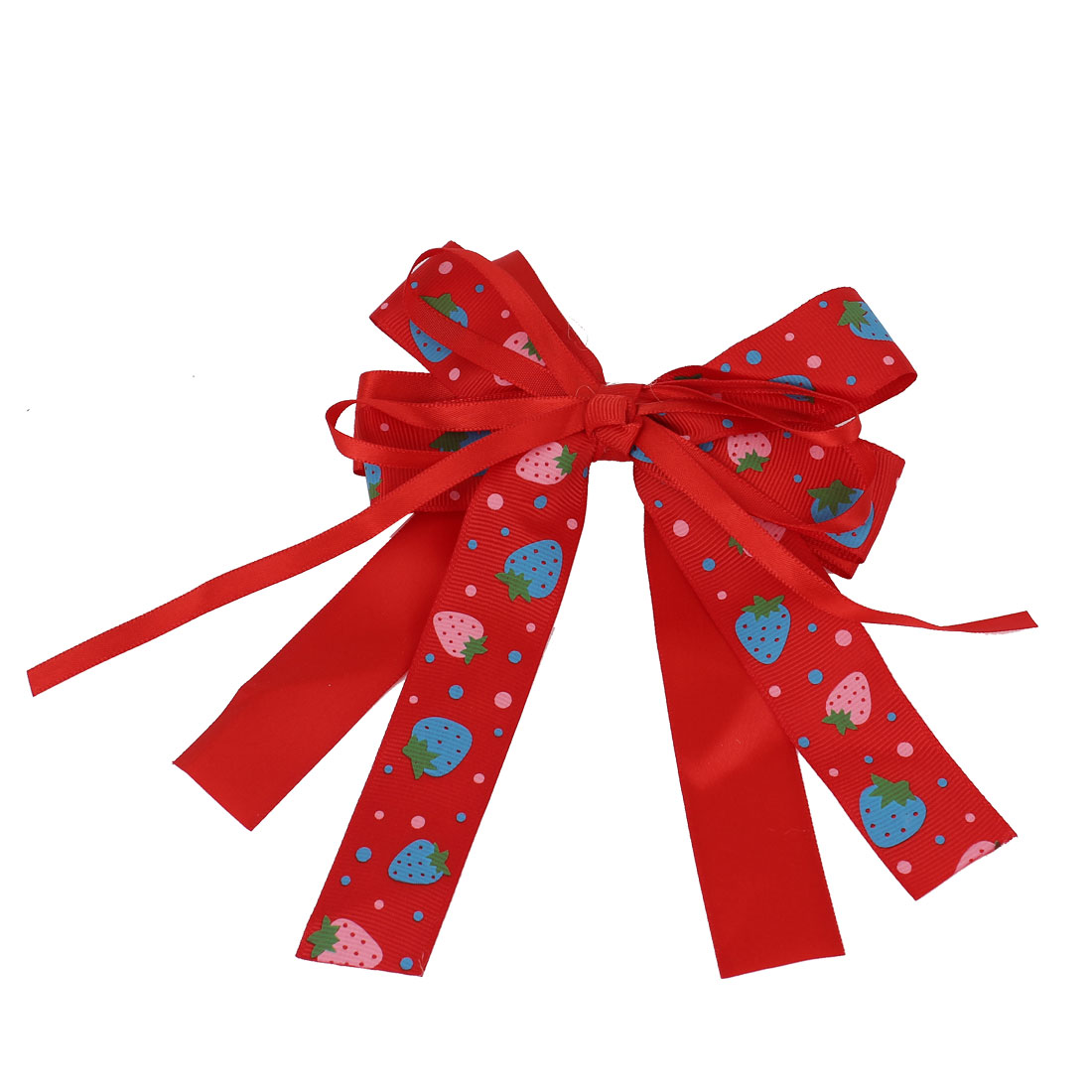Red Fabric Double Layers Bowknot Strawberries Printed Decor Hair Clip for Girl Lady