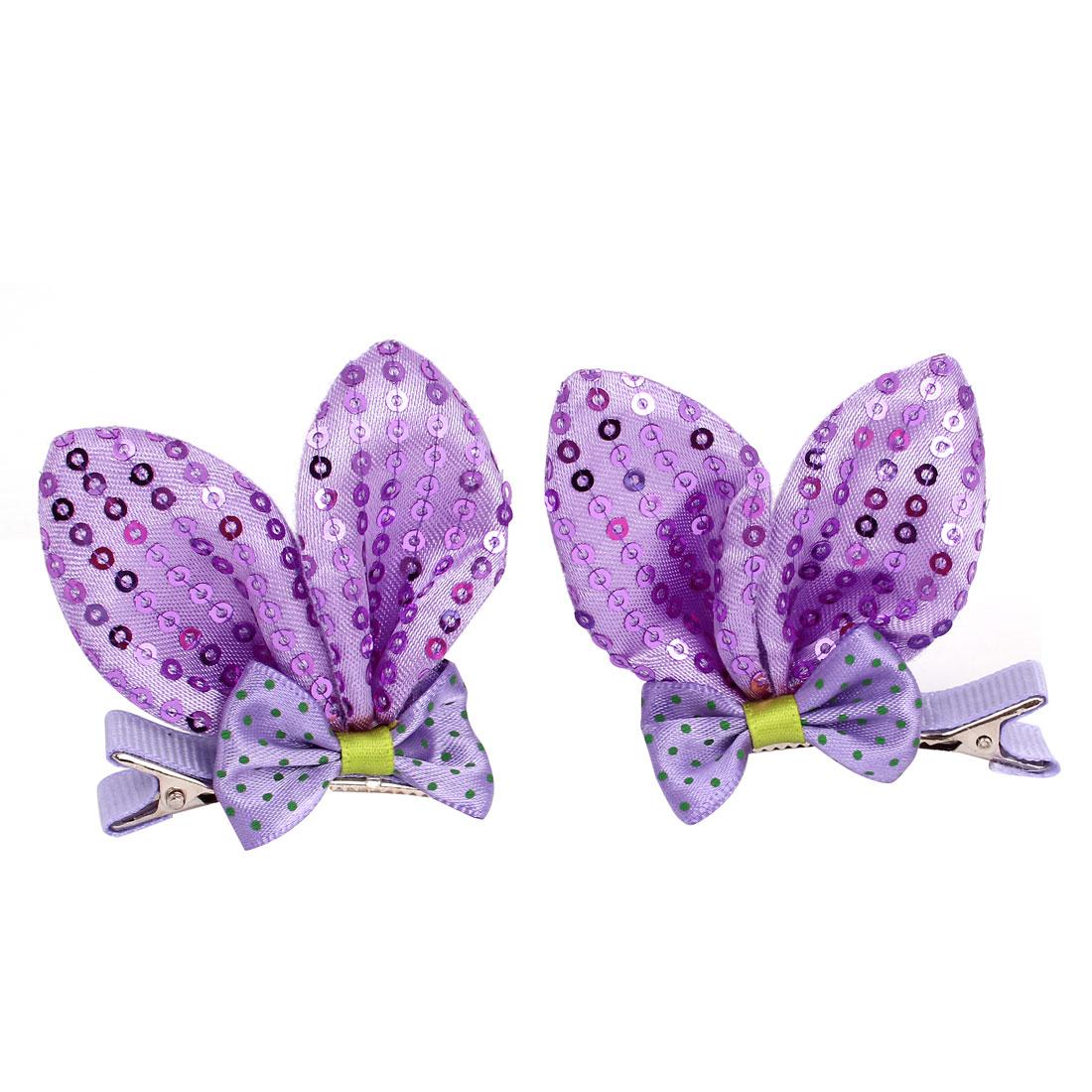 Girl Nylon Sequins Rabbit Ear Bowknot Ornament Hair Clip Purple 2 Pcs