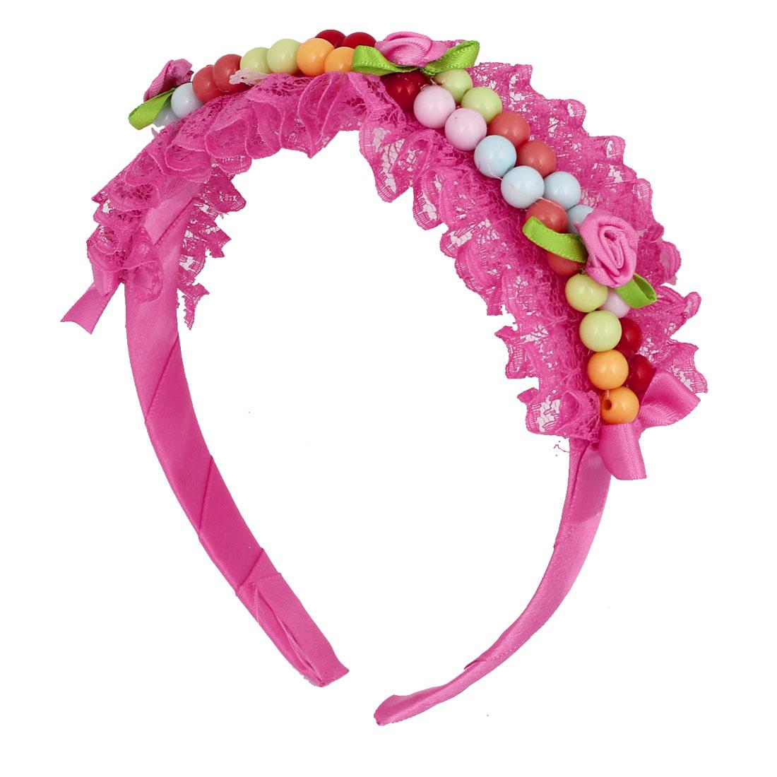 Girls Fuchsia Fabric Plastic Bead Ribbon Coated Flower Detail Decoration Hair Hoop