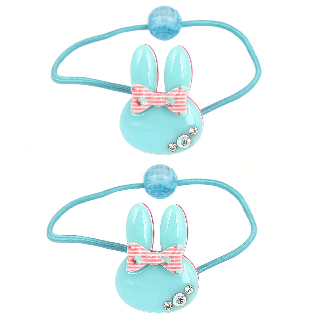 2 Pcs Rabbit Ear Bead Bowknot Rhinestone Detail Decor Stretchy Hair Tie Ponytail Holder for Girls Blue