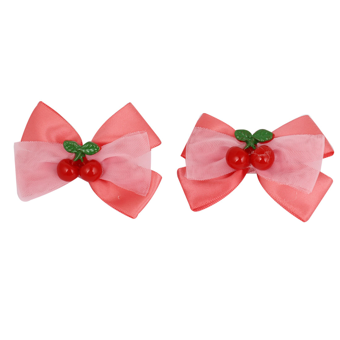 2 Pcs Coral Pink Nylon Organza Bowknot Two Cherries Decor Alligator Hair Clip for Girl