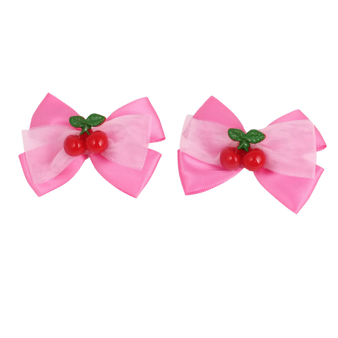 2 Pcs Dark Pink Nylon Organza Bowknot Two Cherries Decor Alligator Hair Clip for Girl