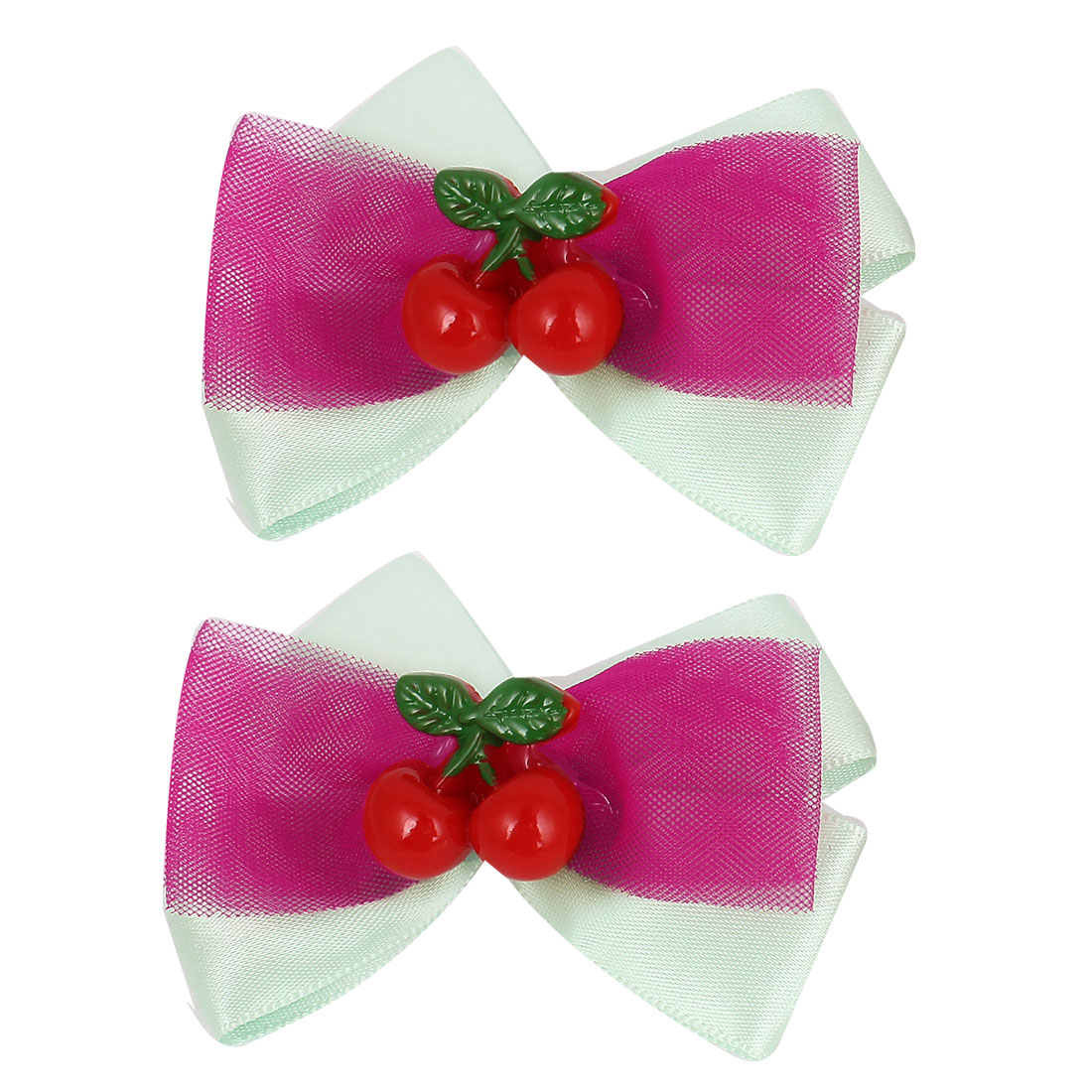 2 Pcs Pale Green Nylon Organza Bowknot Two Cherries Decor Alligator Hair Clip for Girl