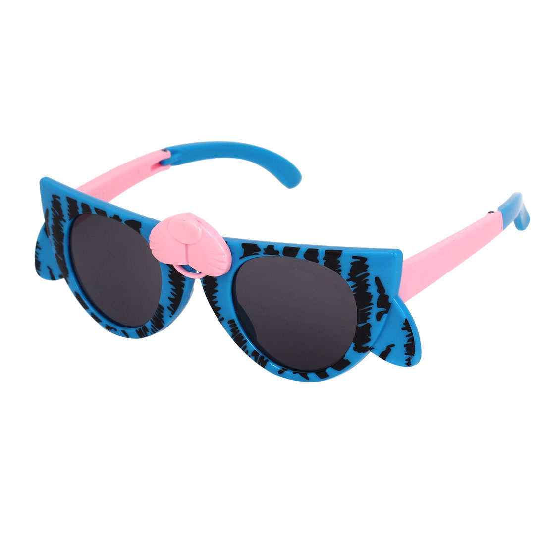 Blue Cartoon Cat Design Plastic Frame Black Lens Foldable Arm Sunglasses for Children