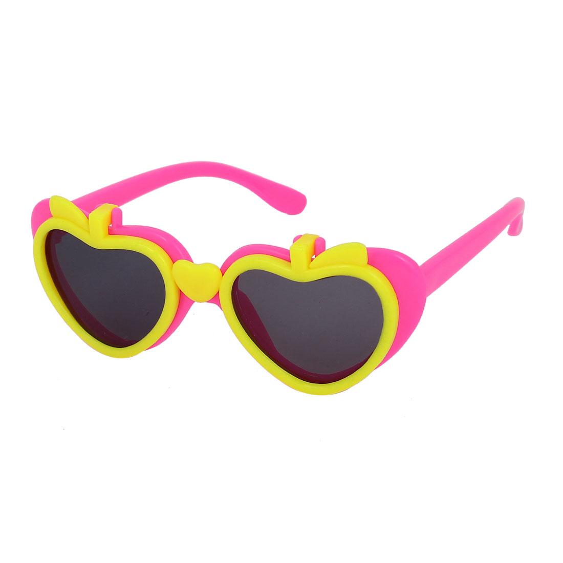 Pink Children Plastic Frame Yellow Heart Shape Detail Flip Up Sunglasses