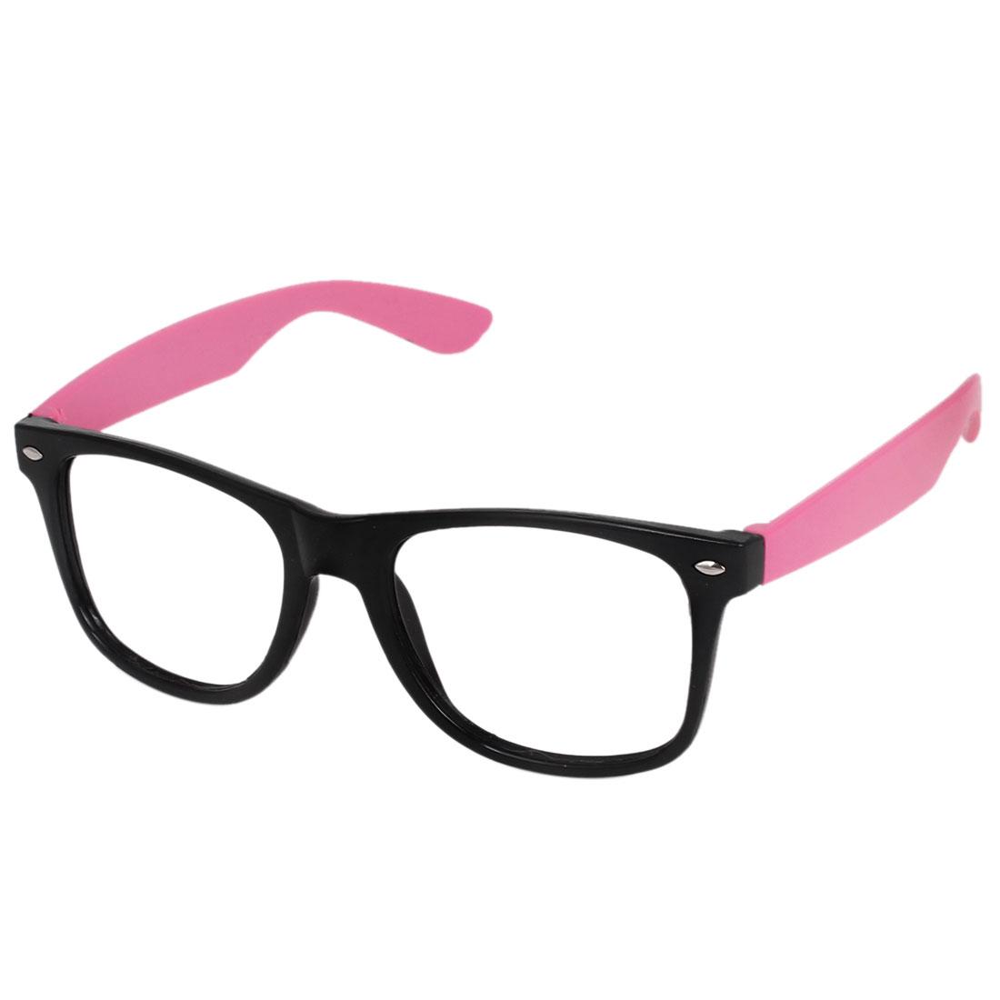 Black Pink Arm Plastic Full Rim Lensless Eyeglasses Frame for Ladies