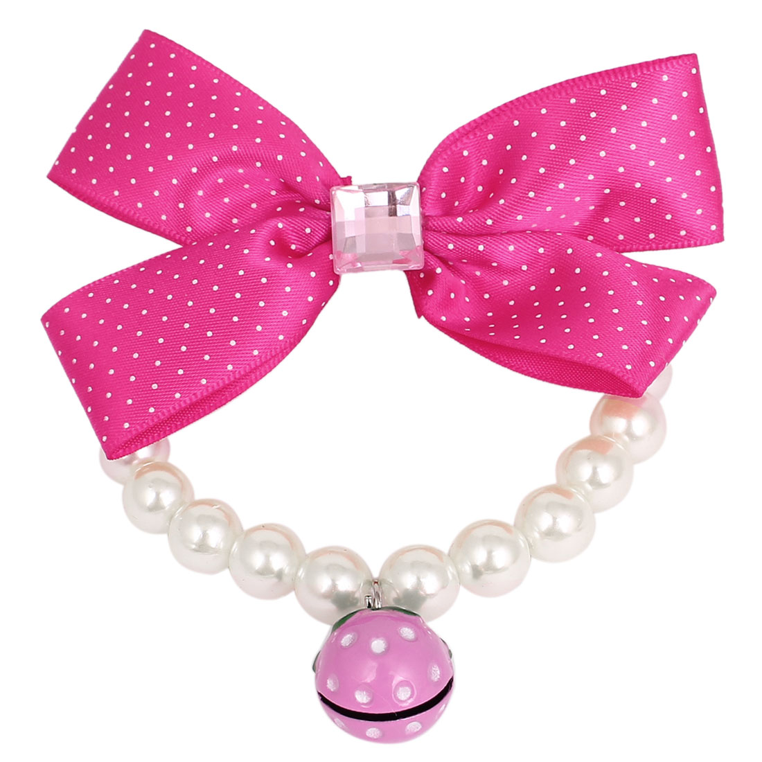 Bowtie Decor Pet Dog Imitation Pearl Linked Collar Necklace White Size S