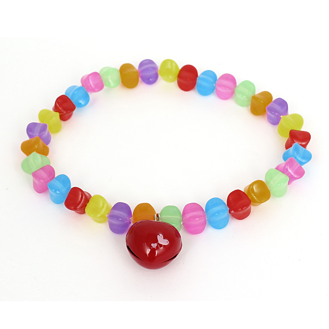 Heart Bell Pendant Pet Dog Plastic Beads Decor Collar Necklace Colorful XL
