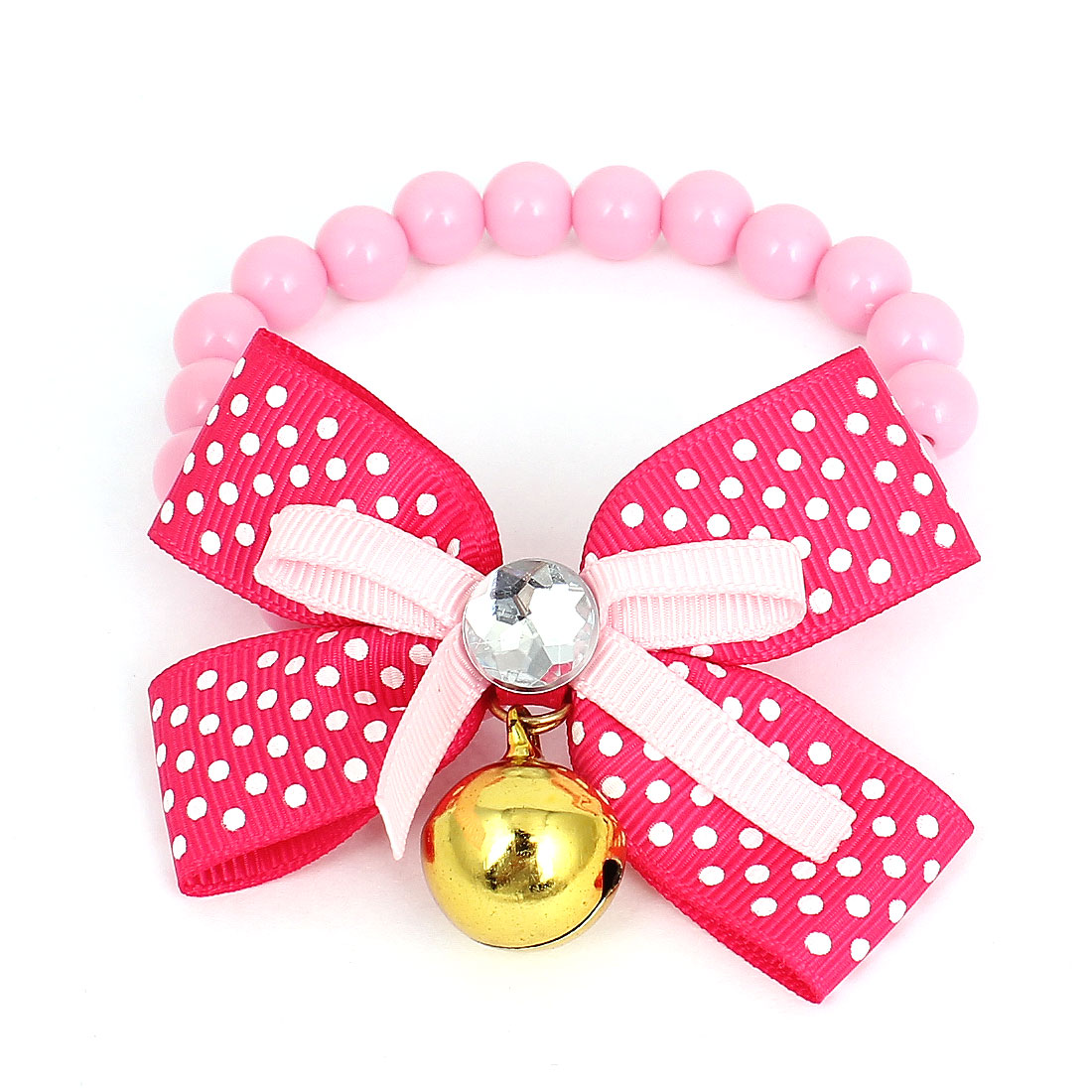 Bowtie Decor Bell Pendant Pet Dog Imitation Pearl Linked Collar Necklace Pink Size XS