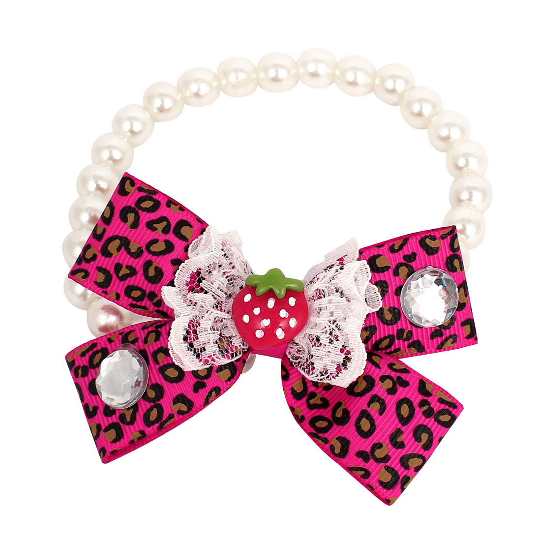 Leopard Pattern Bowtie Pet Dog Imitation Pearl Linked Collar Necklace White Size L
