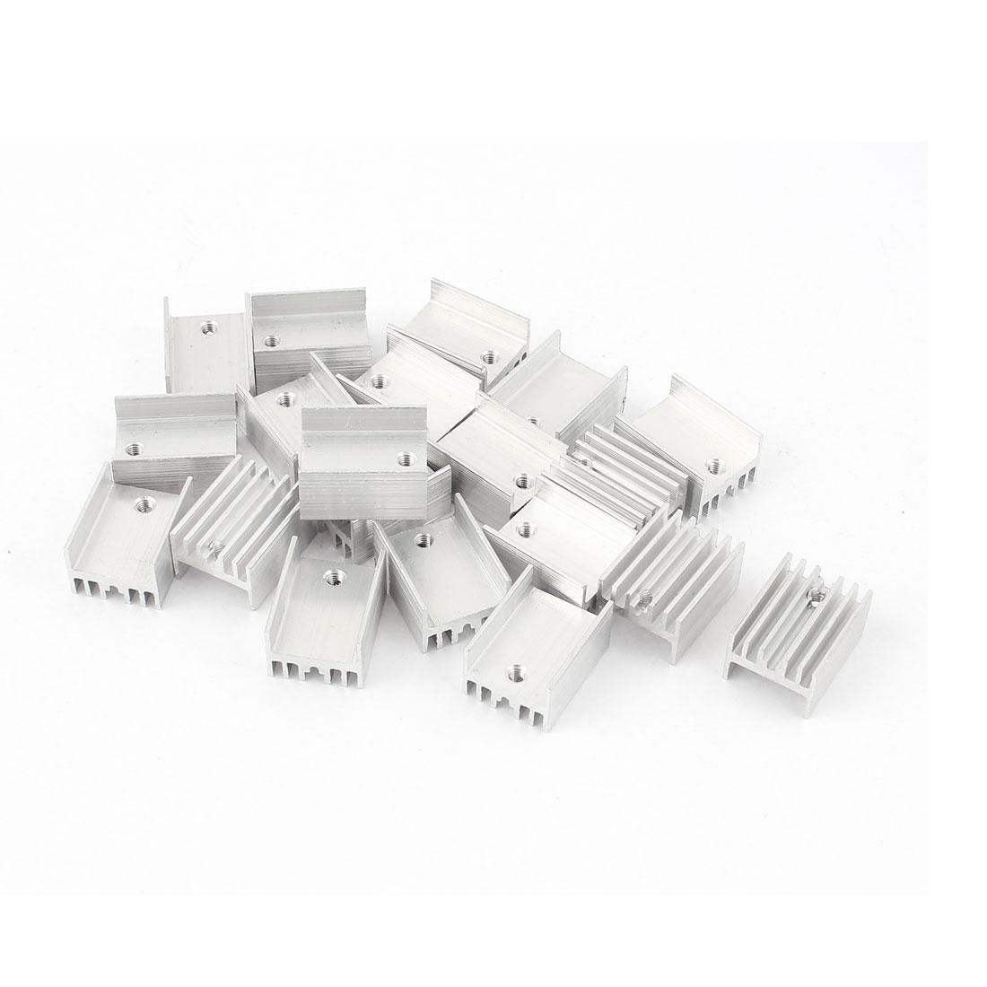 20 Pcs Aluminum Heatsinks Radiator Cooling Fin Cooler 20x15x10mm Silver Tone