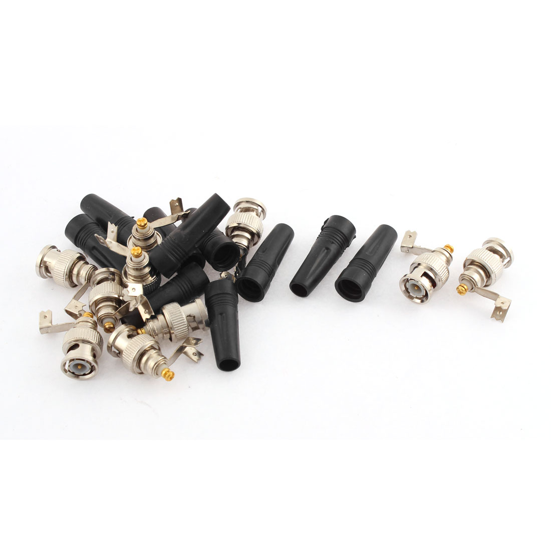 10 Pcs Straight BNC Male Connector Adapter + Plastic Sleeve Cover