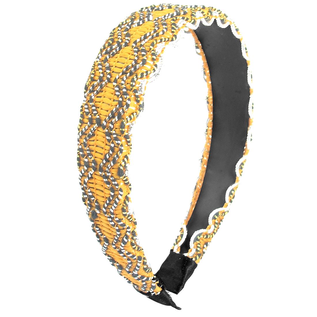Women Lady Knitted String 2.5cm Width Hair Hoop Headband Hairband Orange