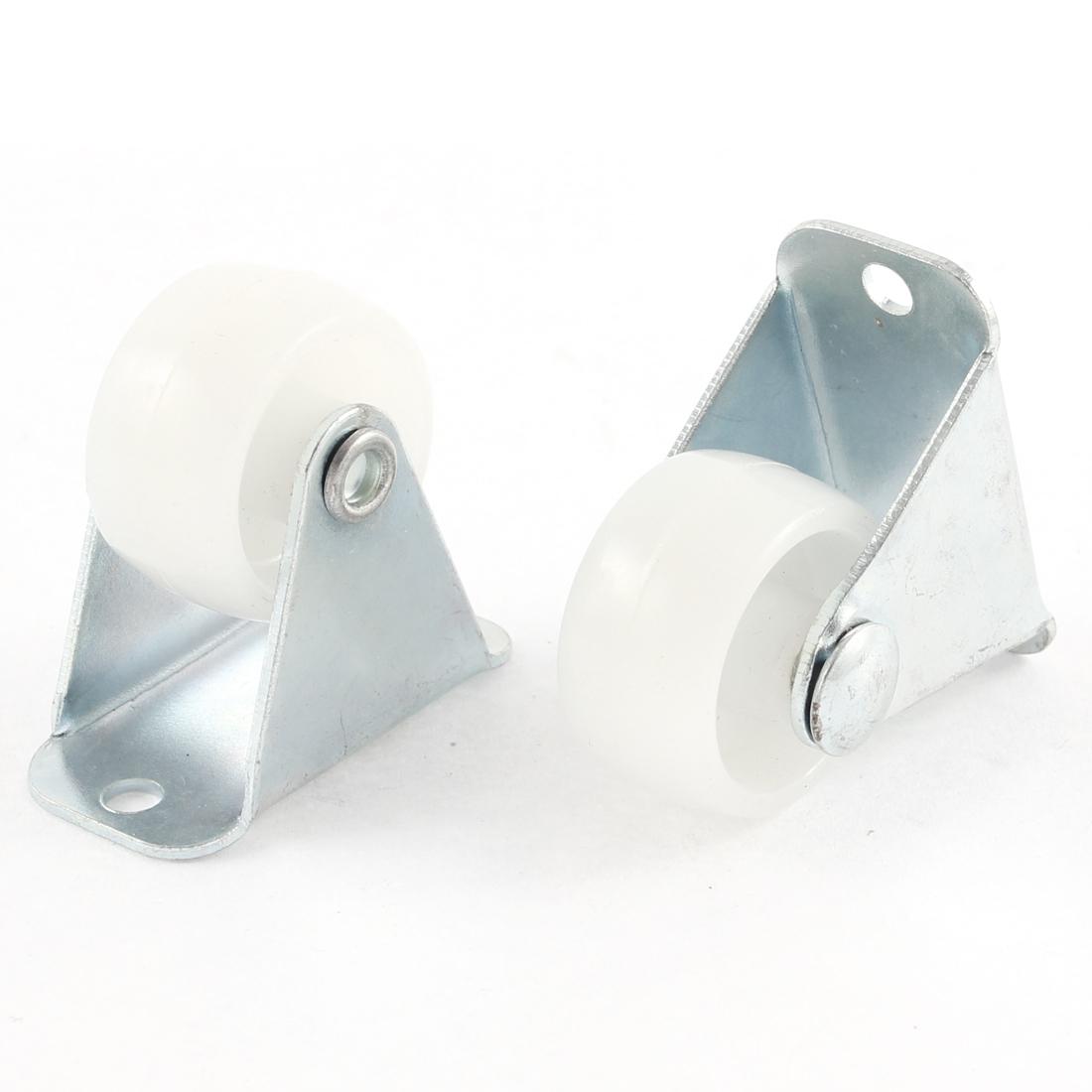 """4 Pcs 1"""" Diameter White Plastic Wheel Rectangle Mount Plate Swivel Caster"""