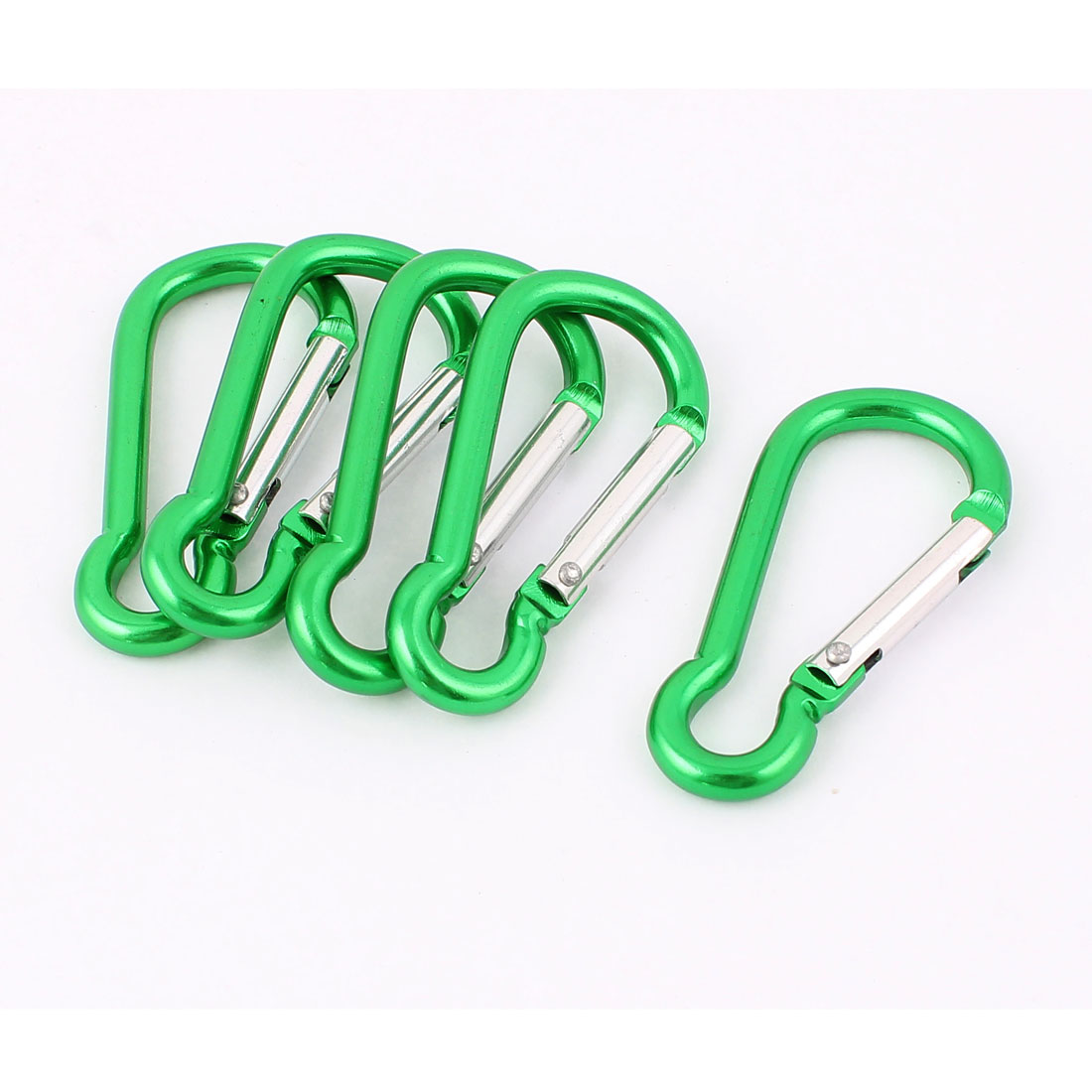 Outdoor Hiking Aluminum Spring Loaded Carabiners Hooks Clip Green 5 Pcs