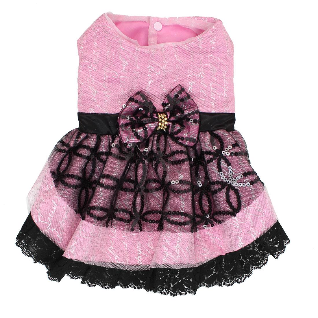 Pet Cat Sequins Bowknot Lace Decor Wedding Dress Skirt Pink Black Size L