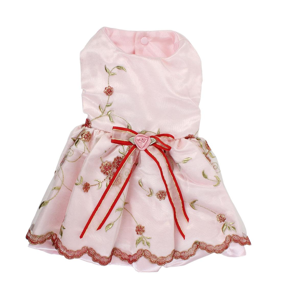 Pet Dog Princess Wedding Dress Rosettes Bowknots Design Skirt Pink Size L