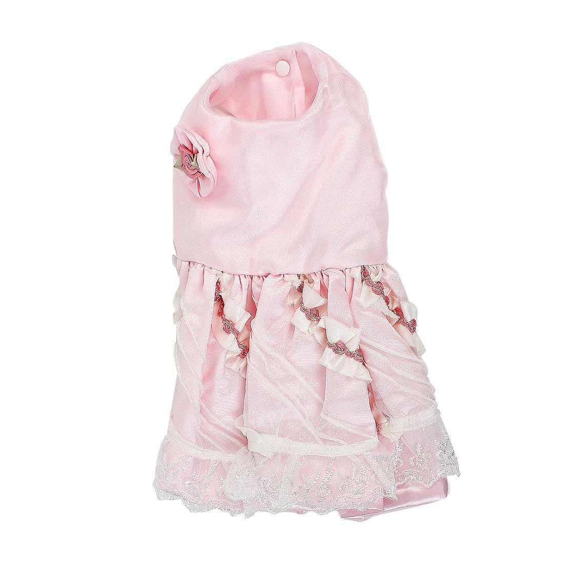 Pet Dog Doggie Rose Lace Decor Princess Wedding Dress Skirt Pink Size S