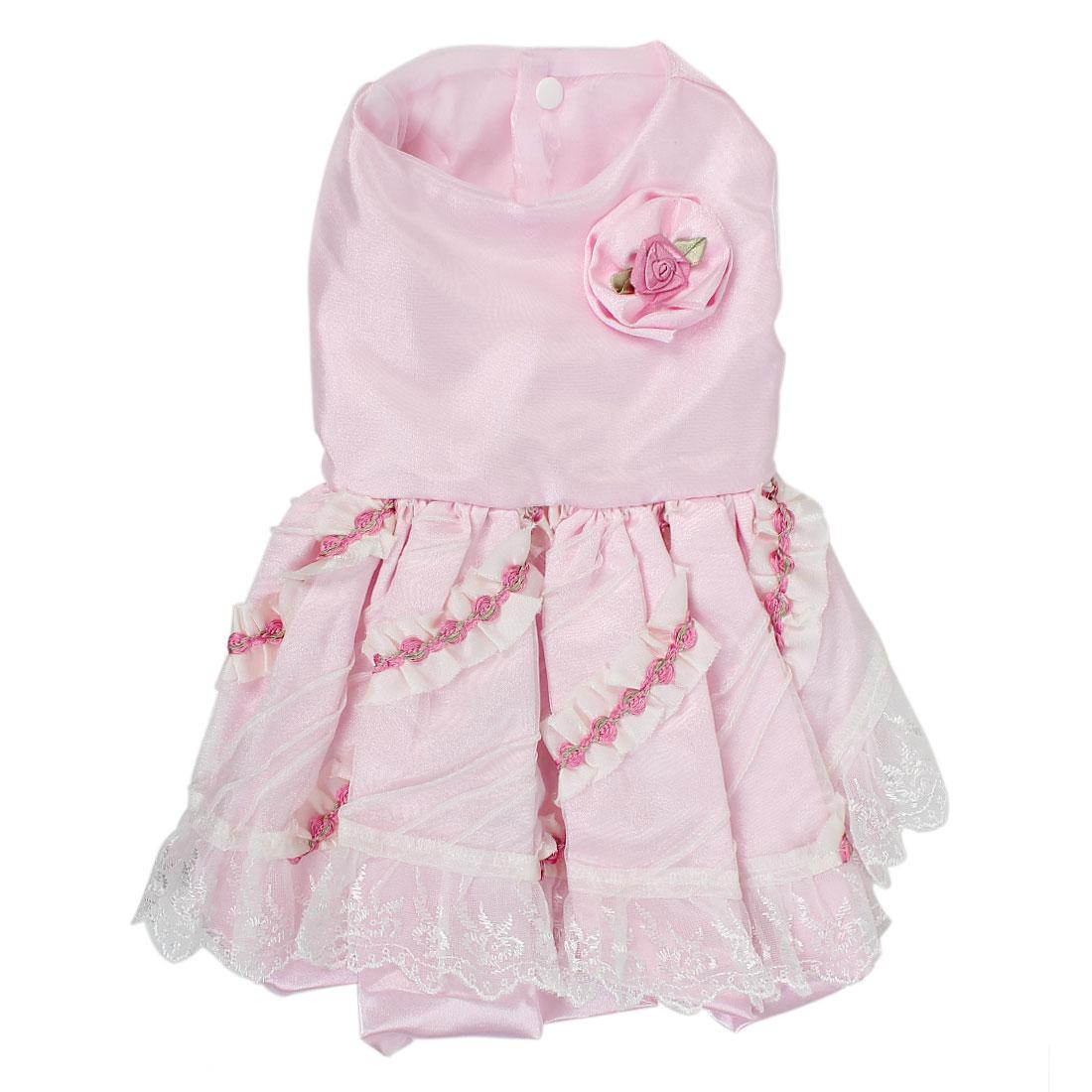 Pet Cat Doggie Rose Lace Decor Princess Wedding Dress Skirt Pink Size M