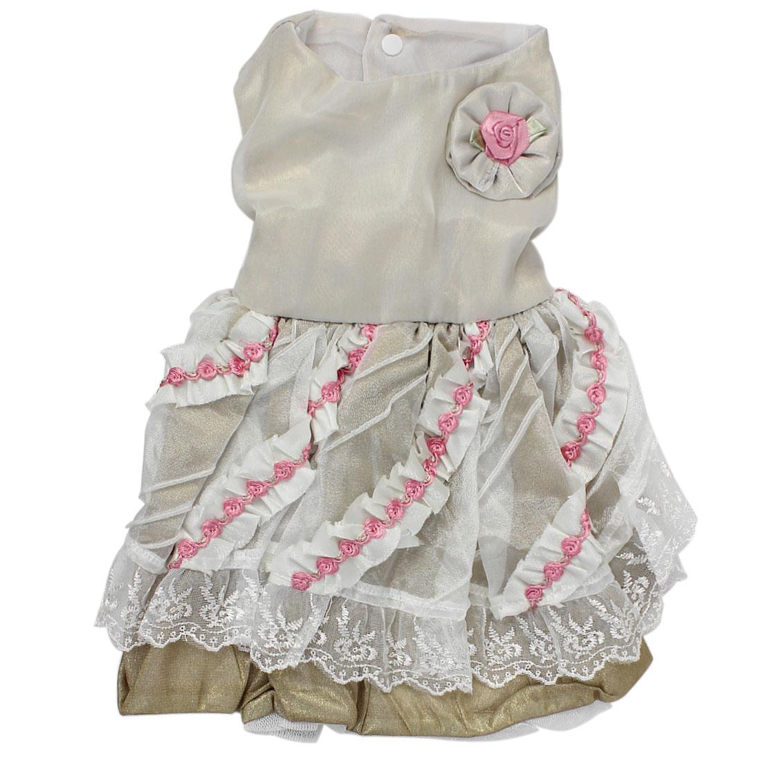 Pet Dog Puppy Rose Lace Decor Princess Wedding Dress Skirt Gold Tone Size S