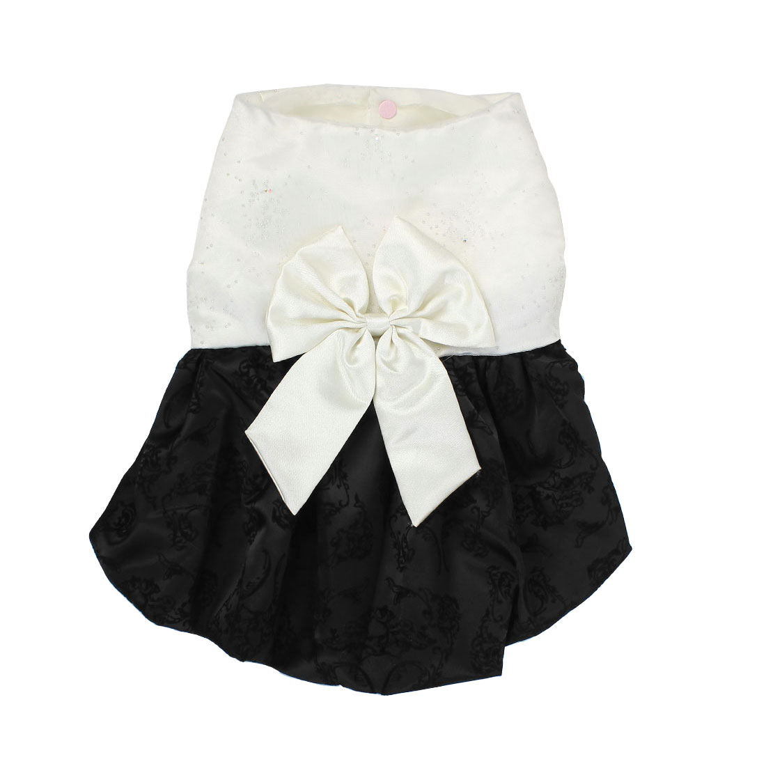 Pet Dog Puppy Princess Flowers Pattern Bowknot Party Dress Skirt White Size M